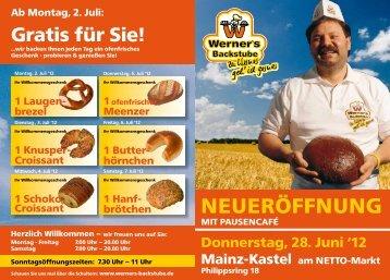 Karte ausschneiden - falzen - einstecken! - Werner's Backstube Mainz
