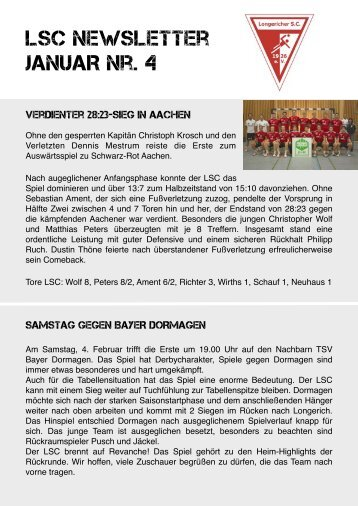 NEWSLETTER Januar Nr 4 - Longericher Sport Club