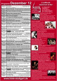 Programm Dezember 12 LiveMusik JazzClub & Bar - Kiste