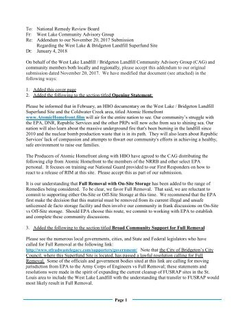 West Lake CAG NRRB Submission REVISED ADDENDUM  January 4 2018