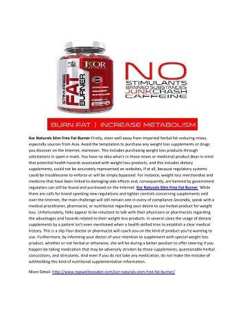 Kor Naturals Stim Free Fat Burner - Boost Metabolsim And Get Slim Figrue Body