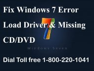 Fix windows 7 error load driver & missing cd 1-800-220-1041 for help