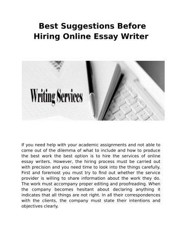 Best Suggestions Before Hiring Online Essay Writer