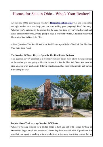 Homes for Sale in Ohio - Who's Your Realtor?