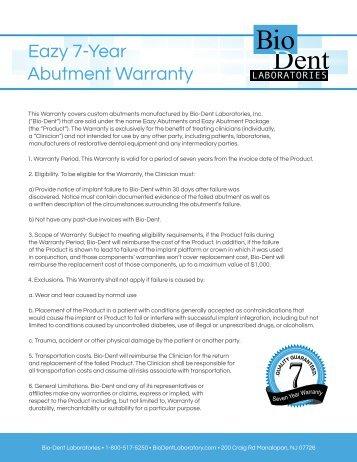 Eazy 7-Year Abutment Warranty