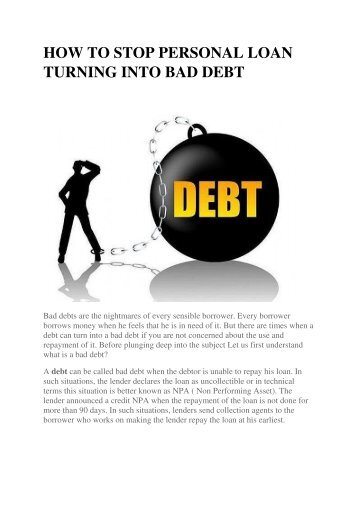 HOW TO STOP PERSONAL LOAN TURNING INTO BAD DEBT