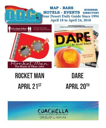 April 18  - April 24 , 2018 This week in Gay Palm Springs California, Desert Daily Guide