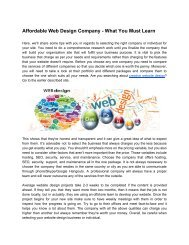 Affordable Web Design Company - What You Must Learn