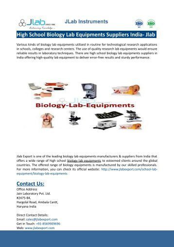 High School Biology Lab Equipments Suppliers India- Jlab Export