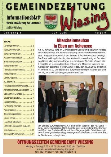 9. Ausgabe der Gemeindezeitung (0 bytes) - Gemeinde Wiesing
