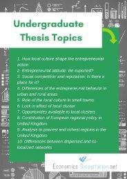 Economics Undergraduate Dissertation Topics