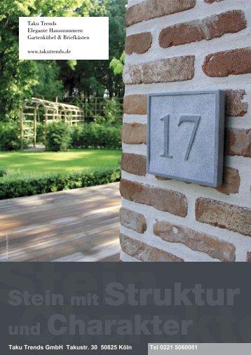 Hausnummern aus Stein mit Namen oder Logo & Briefkästen Gartenkübel