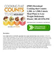 [PDF] Download Cooking that Counts 1 200- to 1 500-Calorie Meal Plans to Lose Weight Deliciously Ebook  READ ONLINE