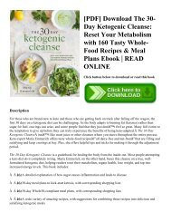 [PDF] Download The 30-Day Ketogenic Cleanse Reset Your Metabolism with 160 Tasty Whole-Food Recipes & Meal Plans Ebook  READ ONLINE