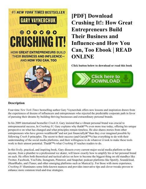 PDF] Download Crushing It! How Great Entrepreneurs Build