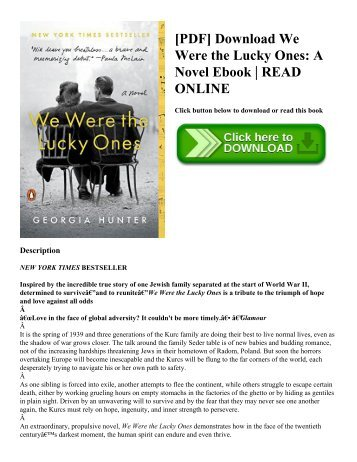 [PDF] Download We Were the Lucky Ones A Novel Ebook  READ ONLINE