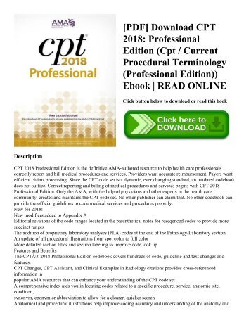 PDF Download CPT 2018 Professional Edition Cpt Current Procedural Terminology