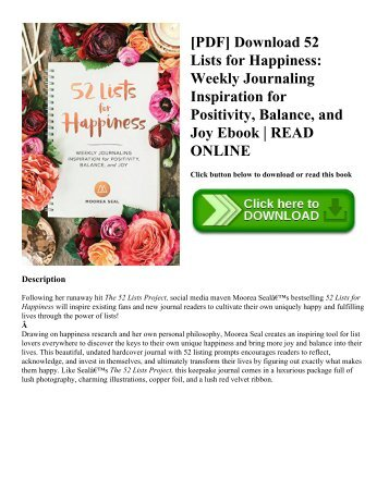 [PDF] Download 52 Lists for Happiness Weekly Journaling Inspiration for Positivity  Balance  and Joy Ebook  READ ONLINE