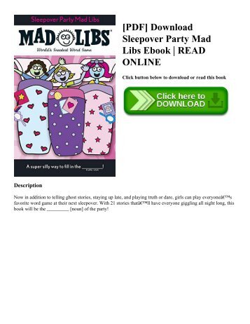 [PDF] Download Sleepover Party Mad Libs Ebook  READ ONLINE
