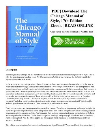 [PDF] Download The Chicago Manual of Style  17th Edition Ebook  READ ONLINE