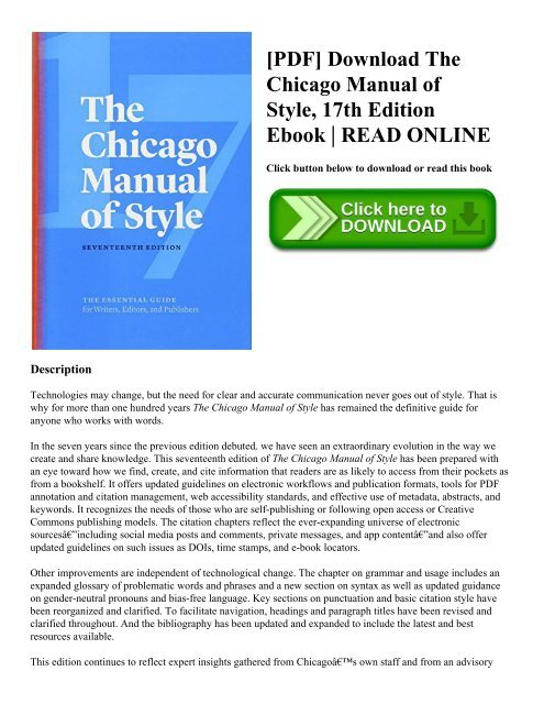 Download pdf chicago manual of style guidelines (quick study) free o….