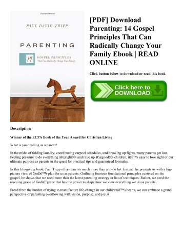 [PDF] Download Parenting 14 Gospel Principles That Can Radically Change Your Family Ebook  READ ONLINE