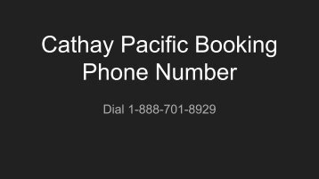 Cathay Pacific Booking Phone Number