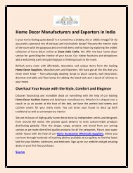 Home Decor Manufacturers and Exporters in India