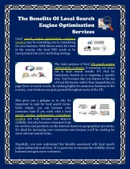 The Benefits Of Local Search Engine Optimisation Services