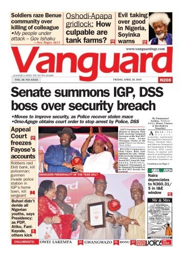 20042018 - Senate summons IGP, DSS boss over security breach