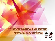 List of Must Have Photo Booths for Events