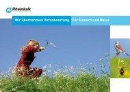Wir übernehmen Verantwortung. Für Mensch und Natur - Rheinkalk