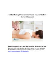 Get Satisfactory Chiropractic Services in Toowoomba from Barham Chiropractic