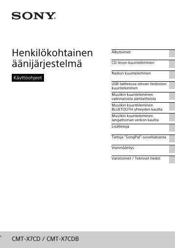 Sony CMT-X7CDB - CMT-X7CDB Mode d'emploi Finlandais