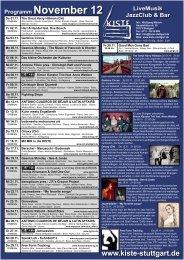Programm November 12 LiveMusik JazzClub & Bar - Kiste