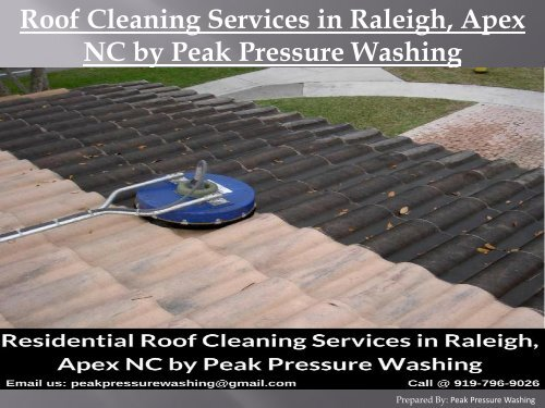 Roof Cleaning Services in Raleigh, Apex NC by Peak Pressure Washing
