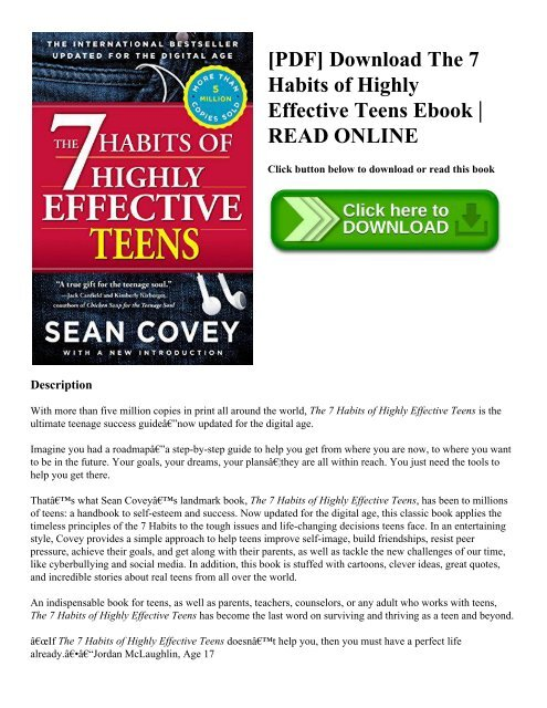 Pdf Download The 7 Habits Of Highly Effective Teens Ebook Read Online