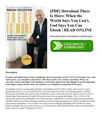 [PDF] Download There Is More When the World Says You Can't  God Says You Can Ebook  READ ONLINE