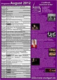 Programm August 2012 LiveMusik JazzClub & Bar - Kiste