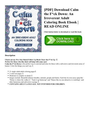 PDF Download Calm The Fck Down An Irreverent Adult Coloring Book Ebook READ ONLINE