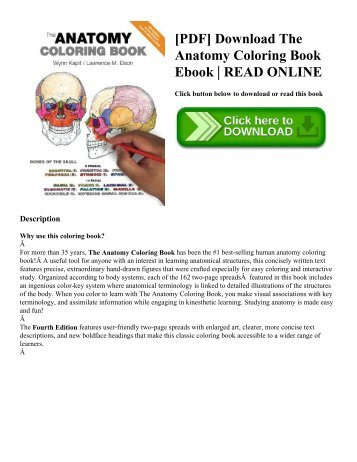 PDF Download The Anatomy Coloring Book Ebook READ ONLINE