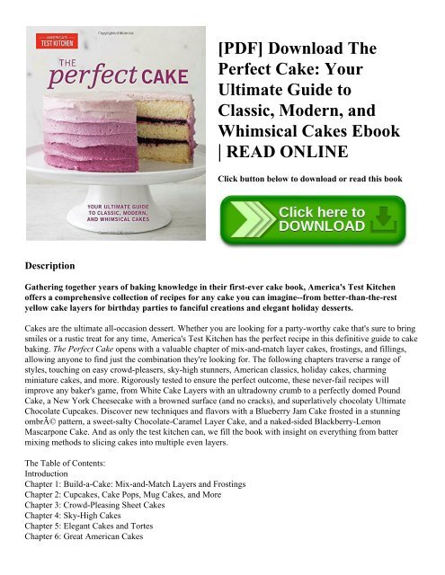 pdf download the perfect cake your ultimate guide to classic modern