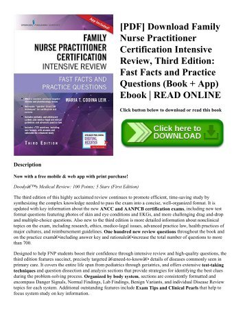 [PDF] Download Family Nurse Practitioner Certification Intensive Review  Third Edition Fast Facts and Practice Questions (Book + App) Ebook  READ ONLINE