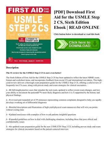 [PDF] Download First Aid for the USMLE Step 2 CS  Sixth Edition Ebook  READ ONLINE