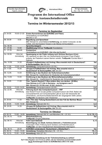Termine im Wintersemester 2012/13
