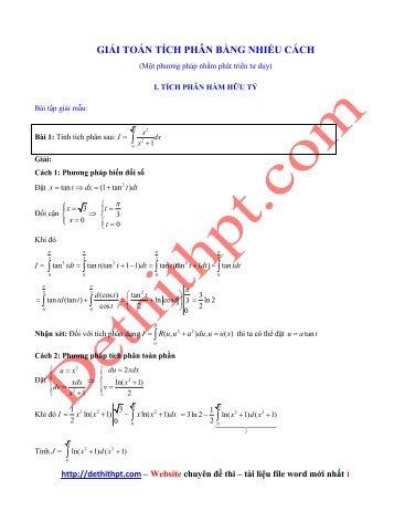 Giải toán tích phân bằng nhiều cách - Nguyễn Thành Long - Có lời giải chi tiết