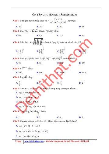 555 bài tập chuyên đề MŨ & LOGARITH - Có lời giải chi tiết