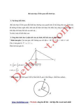 83 Bài toán thực tế liên quan đến hình học - Có lời giải chi tiết