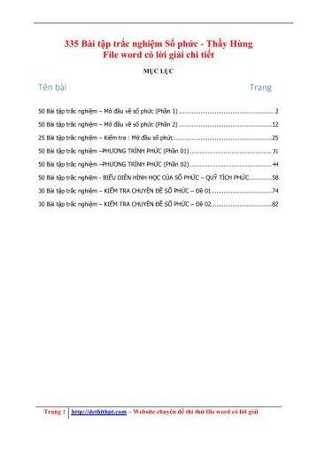 335 Bài tập trắc nghiệm Số phức - Thầy Hùng - Có lời giải chi tiết (89 trang)