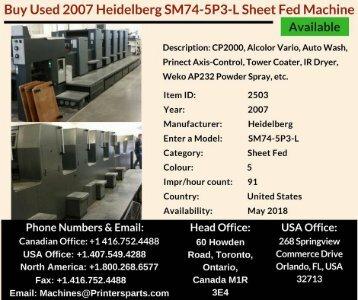 Buy Used 2007 SM74-5P3-L Heidelberg Printing Presses Machine